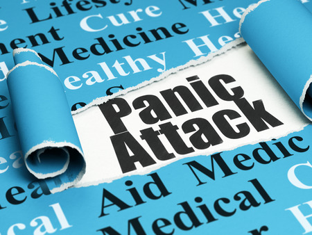 Health concept: black text Panic Attack under the curled piece of Blue torn paper with  Tag Cloud, 3D rendering Stock Photo