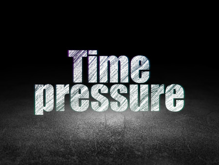time pressure: Time concept: Glowing text Time Pressure in grunge dark room with Dirty Floor, black background