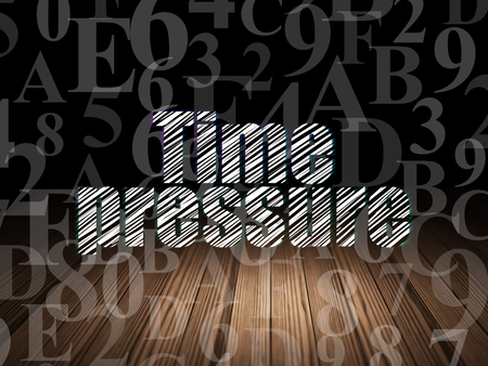 time pressure: Timeline concept: Glowing text Time Pressure in grunge dark room with Wooden Floor, black background with  Hexadecimal Code Stock Photo