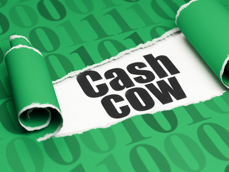 cash cow: Business concept: black text Cash Cow under the curled piece of Green torn paper with  Binary Code, 3D rendering