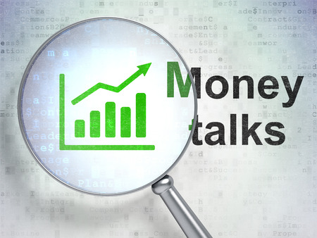 conversaciones: Business concept: magnifying optical glass with Growth Graph icon and Money Talks word on digital background, 3D rendering