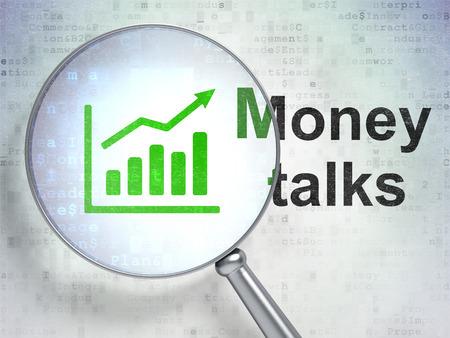 conversaciones: Concepto de negocio: la lupa óptica con el icono Gráfico de crecimiento y la palabra dinero habla sobre fondo digital, 3D