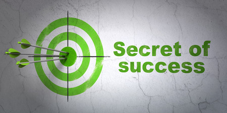 hitting a wall: Success finance concept: arrows hitting the center of target, Green Secret of Success on wall background, 3D rendering