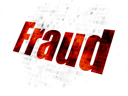 Privacy concept: Pixelated red text Fraud on Digital background Stock Photo