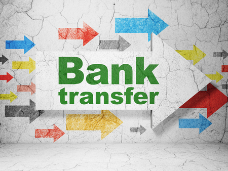 bank transfer: Banking concept:  arrow with Bank Transfer on grunge textured concrete wall background, 3D rendering