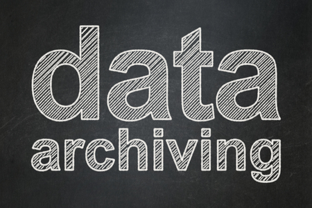 archiving: Data concept: text Data Archiving on Black chalkboard background Stock Photo