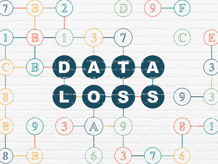data loss: Information concept: Painted blue text Data Loss on White Brick wall background with Hexadecimal Code