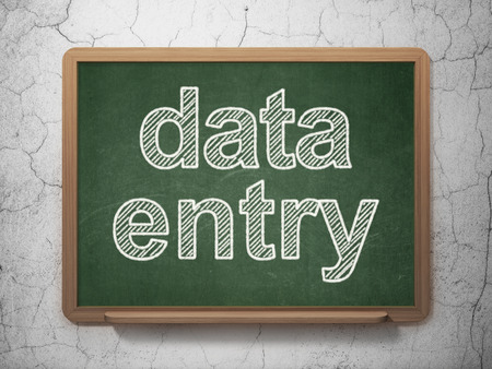 data entry: Information concept: text Data Entry on Green chalkboard on grunge wall background, 3D rendering