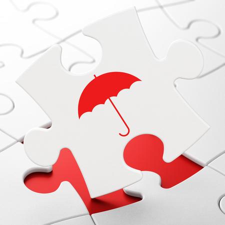 brainteaser: Protection concept: Umbrella on White puzzle pieces background, 3D rendering
