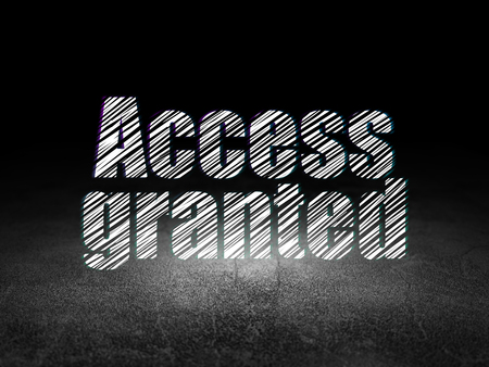 access granted: Protection concept: Glowing text Access Granted in grunge dark room with Dirty Floor, black background Stock Photo
