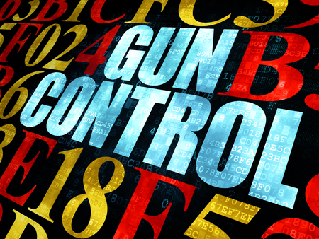 hexadecimal: Safety concept: Pixelated blue text Gun Control on Digital wall background with Hexadecimal Code
