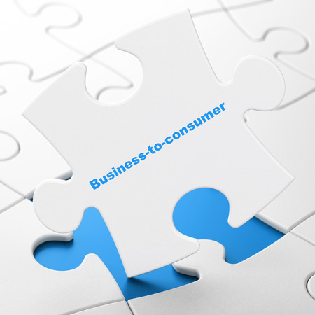 brainteaser: Business concept: Business-to-consumer on White puzzle pieces background, 3D rendering