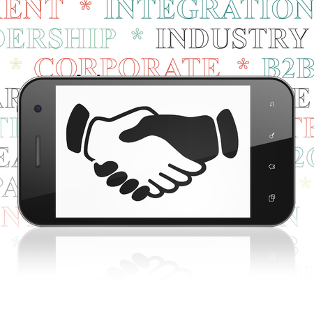 black handshake: Business concept: Smartphone with  black Handshake icon on display,  Tag Cloud background, 3D rendering