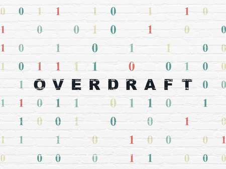 overdraft: Finance concept: Painted black text Overdraft on White Brick wall background with Binary Code