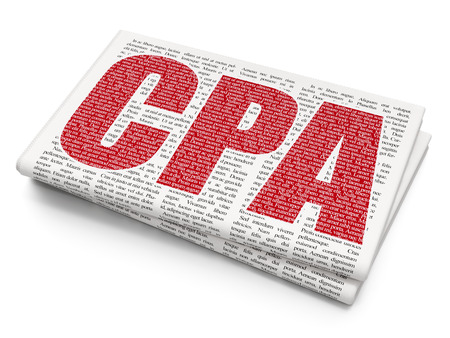 cpa: Business concept: Pixelated red text CPA on Newspaper background, 3D rendering Stock Photo