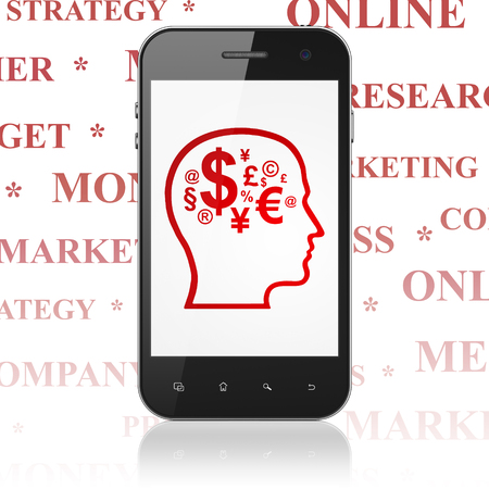 head tag: Advertising concept: Smartphone with  red Head With Finance Symbol icon on display,  Tag Cloud background, 3D rendering