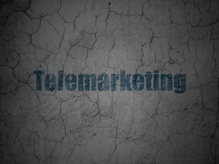 telemarketing: Advertising concept: Blue Telemarketing on grunge textured concrete wall background Stock Photo