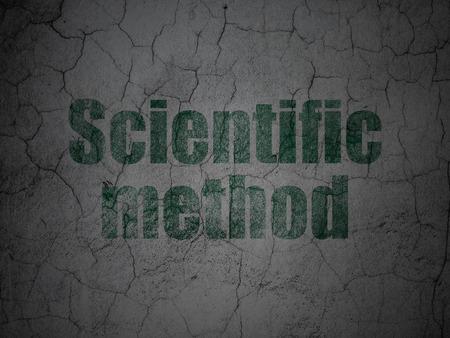 metodo cientifico: Concepto de la ciencia: M�todo Cient�fico verde en el grunge textura de fondo muro de hormig�n