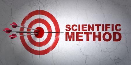 metodo cientifico: Ciencia concepto de �xito: flechas golpear el centro de destino, M�todo Cient�fico rojo sobre fondo de pared, 3D
