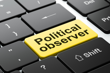 observer: Political concept: computer keyboard with word Political Observer, selected focus on enter button background, 3D rendering Stock Photo