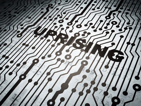electronic voting: Politics concept: circuit board with  word Uprising, 3D rendering Stock Photo