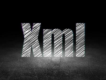 xml: Programming concept: Glowing text Xml in grunge dark room with Dirty Floor, black background