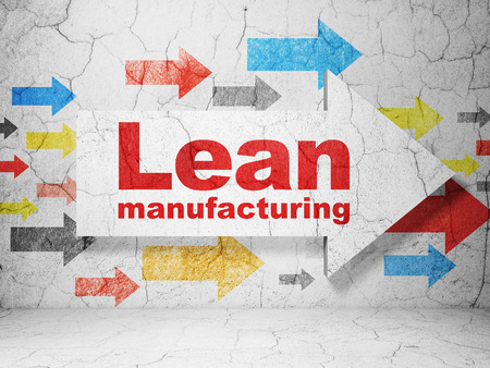 lean: Manufacuring concept:  arrow with Lean Manufacturing on grunge textured concrete wall background, 3D rendering Stock Photo
