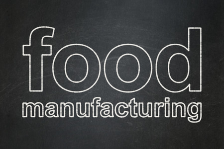 food industry: Industry concept: text Food Manufacturing on Black chalkboard background