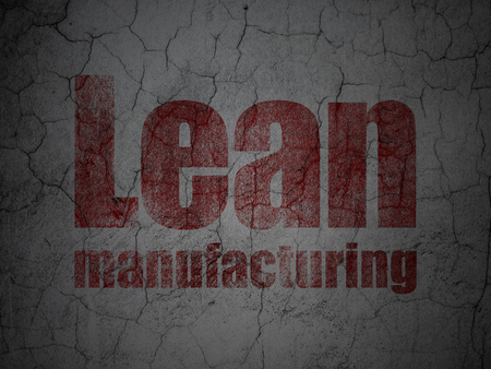 lean: Industry concept: Red Lean Manufacturing on grunge textured concrete wall background