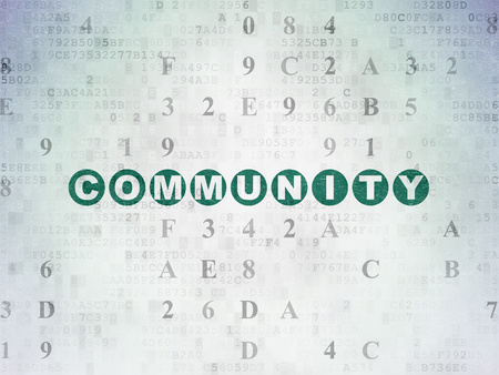 microblog: Social media concept: Painted green text Community on Digital Data Paper background with Hexadecimal Code Stock Photo