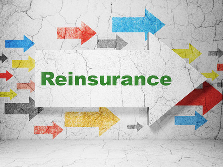 Insurance concept:  arrow with Reinsurance on grunge textured concrete wall background, 3D rendering