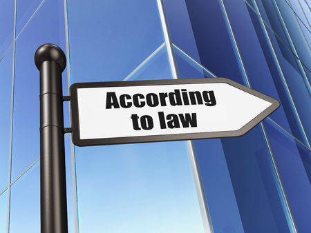 according: Law concept: sign According To Law on Building background, 3D rendering