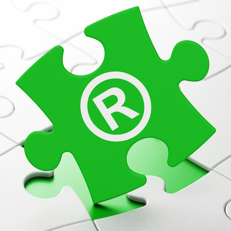 r regulation: Law concept: Registered on Green puzzle pieces background, 3D rendering