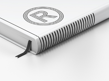 r regulation: Law concept: closed book with Black Registered icon on floor, white background, 3D rendering