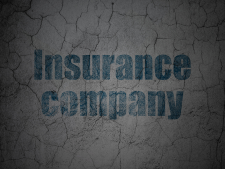 dark ages: Insurance concept: Blue Insurance Company on grunge textured concrete wall background