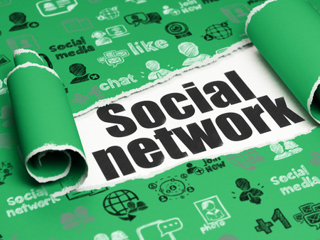 Social network concept: black text Social Network under the curled piece of Green torn paper with  Hand Drawn Social Network Icons, 3D rendering