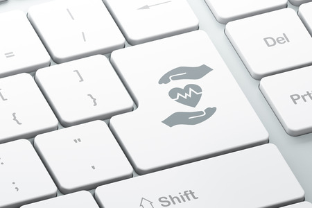 palm computer: Insurance concept: Enter button with Heart And Palm on computer keyboard background, 3D rendering