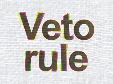 veto: Politics concept: CMYK Veto Rule on linen fabric texture background