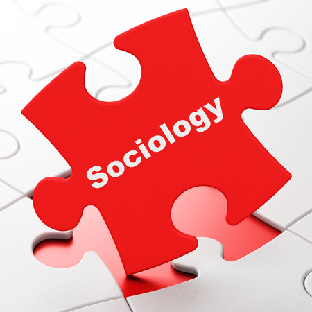 sociology: Education concept: Sociology on Red puzzle pieces background, 3D rendering