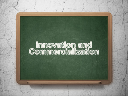 commercialization: Science concept: text Innovation And Commercialization on Green chalkboard on grunge wall background, 3D rendering Stock Photo