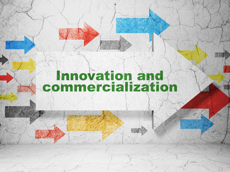 commercialization: Science concept:  arrow with Innovation And Commercialization on grunge textured concrete wall background, 3D rendering