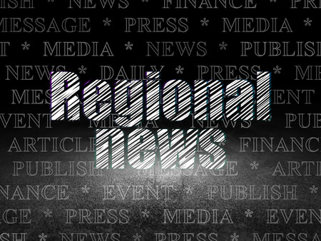 news room: News concept: Glowing text Regional News in grunge dark room with Dirty Floor, black background with  Tag Cloud