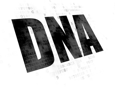 pixelated: Healthcare concept: Pixelated black text DNA on Digital background Stock Photo
