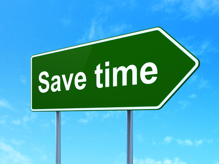 save time: Time concept: Save Time on green road highway sign, clear blue sky background, 3D rendering