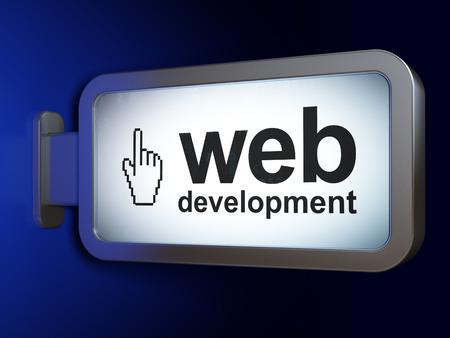 3d cursor: Web design concept: Web Development and Mouse Cursor on advertising billboard background, 3D rendering