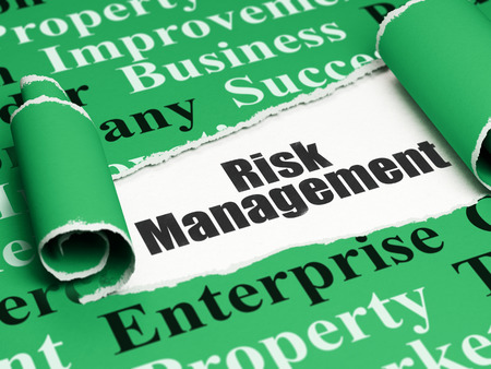 Business concept: black text Risk Management under the curled piece of Green torn paper with  Tag Cloud, 3D rendering Stock Photo