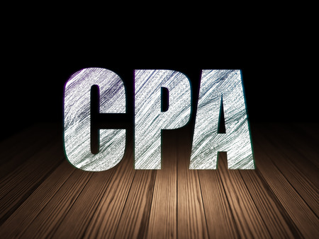 cpa: Finance concept: Glowing text CPA in grunge dark room with Wooden Floor, black background