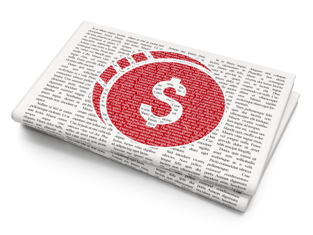 news values: Currency concept: Pixelated red Dollar Coin icon on Newspaper background, 3D rendering