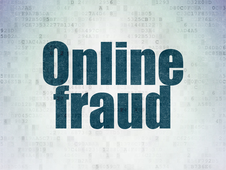 online safety: Safety concept: Painted blue word Online Fraud on Digital Data Paper background