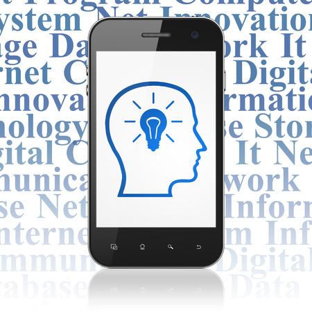 head tag: Information concept: Smartphone with  blue Head With Lightbulb icon on display,  Tag Cloud background, 3D rendering Stock Photo